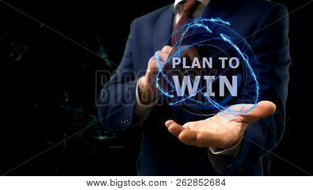 Businessman Shows Concept Hologram Plan To Win On His Hand