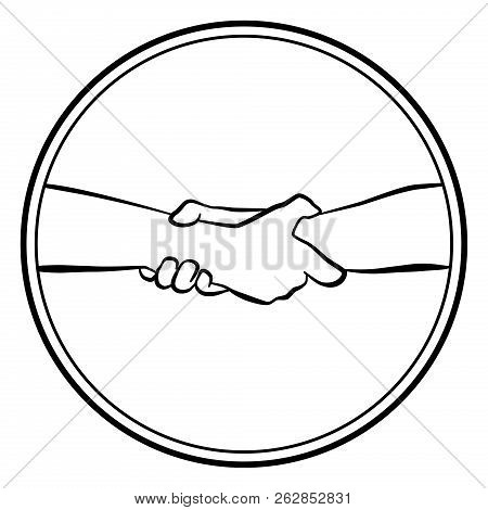 Gripping Helping Rescuing Hands. Isolated Round Logo Outline Vector Illustration On White Background