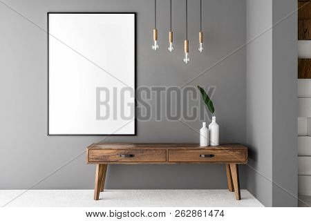 Gray Wall Living Room Interior With Concrete Floor And Wooden Cabinet With A Vase On It. 3d Renderin