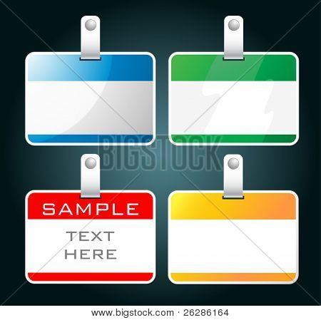 set of colorful blank badges