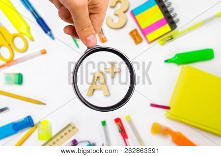 School Supplies In The School Desk, Stationery, School Concept, Blue Background, Creative Chaos, Spa