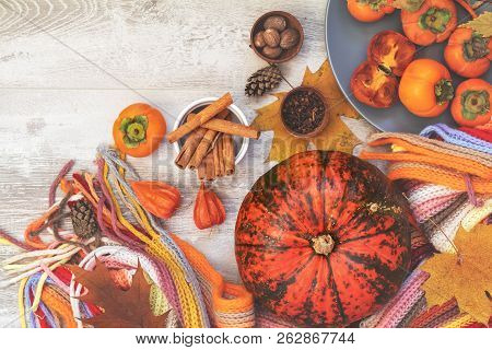 Green And Orange Pumpkin, Persimmons, Ingredients, Decorations