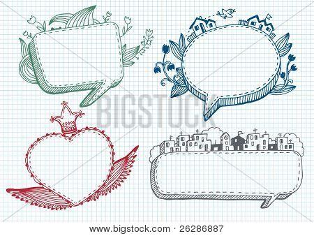 Set of banner doodle.