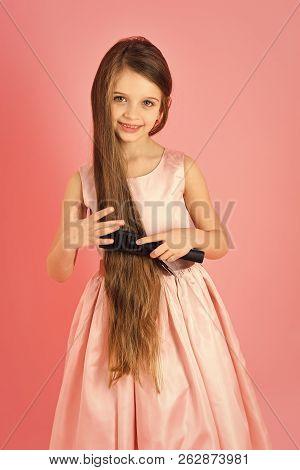 Little Girl With Stylish Long Hair, Retro. Beauty And Fashion, Childhood, Healthy Hair. Hair Salon,