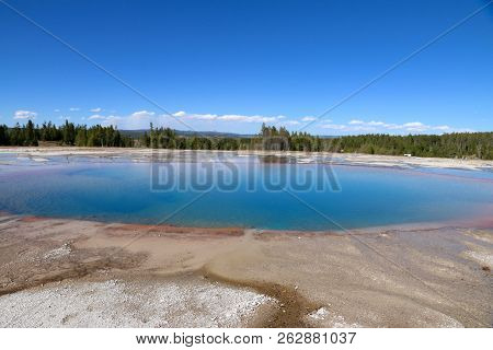 Grand Prismatic Spring At Yellowstone National Park In Wyoming