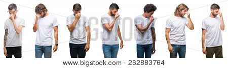 Collage of young caucasian, hispanic, afro men wearing white t-shirt over white isolated background tired rubbing nose and eyes feeling fatigue and headache. Stress and frustration concept.