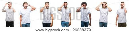 Collage of young caucasian, hispanic, afro men wearing white t-shirt over white isolated background doing ok gesture with hand smiling, eye looking through fingers with happy face.