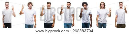 Collage of young caucasian, hispanic, afro men wearing white t-shirt over white isolated background showing and pointing up with fingers number three while smiling confident and happy.