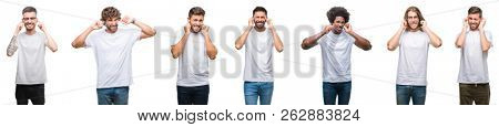 Collage of young caucasian, hispanic, afro men wearing white t-shirt over white isolated background covering ears with fingers with annoyed expression for the noise of loud music. Deaf concept.