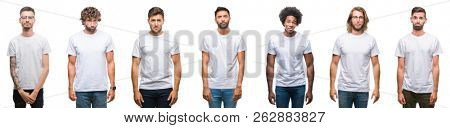 Collage of young caucasian, hispanic, afro men wearing white t-shirt over white isolated background depressed and worry for distress, crying angry and afraid. Sad expression.