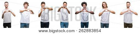 Collage of young caucasian, hispanic, afro men wearing white t-shirt over white isolated background smiling in love showing heart symbol and shape with hands. Romantic concept.
