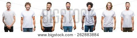 Collage of young caucasian, hispanic, afro men wearing white t-shirt over white isolated background sticking tongue out happy with funny expression. Emotion concept.