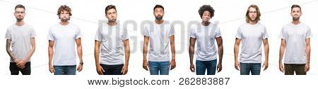 Collage of young caucasian, hispanic, afro men wearing white t-shirt over white isolated background puffing cheeks with funny face. Mouth inflated with air, crazy expression.