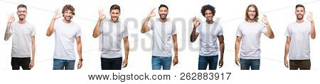 Collage of young caucasian, hispanic, afro men wearing white t-shirt over white isolated background smiling positive doing ok sign with hand and fingers. Successful expression.