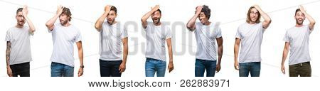 Collage of young caucasian, hispanic, afro men wearing white t-shirt over white isolated background surprised with hand on head for mistake, remember error. Forgot, bad memory concept.