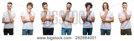 Collage of young caucasian, hispanic, afro men wearing white t-shirt over white isolated background looking confident at the camera with smile with crossed arms and hand raised on chin. Thinking