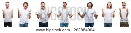 Collage of young caucasian, hispanic, afro men wearing white t-shirt over white isolated background crazy and mad shouting and yelling with aggressive expression and arms raised. Frustration concept.