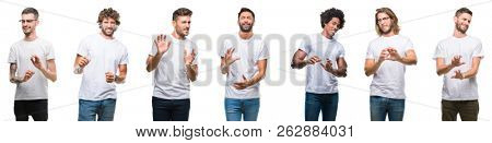 Collage of young caucasian, hispanic, afro men wearing white t-shirt over white isolated background disgusted expression, displeased and fearful doing disgust face because aversion reaction.