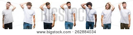 Collage of young caucasian, hispanic, afro men wearing white t-shirt over white isolated background confuse and wonder about question. Uncertain with doubt, thinking with hand on head. Pensive