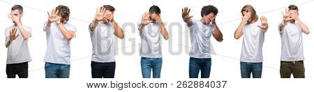 Collage of young caucasian, hispanic, afro men wearing white t-shirt over white isolated background covering eyes with hands and doing stop gesture with sad and fear expression. Embarrassed