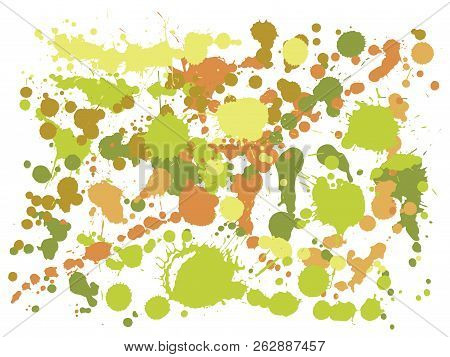 Graffiti Spray Stains Grunge Background Vector. Modern Ink Splatter, Spray Blots, Dirty Spot Element