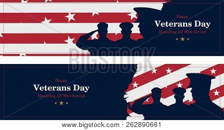 Happy Veterans Day. Greeting Card With Usa Flag, Map And Soldiers On Background. National American H