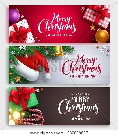 Christmas Vector Banner Design Set With Colorful Backgrounds, Christmas Elements And Christmas Greet