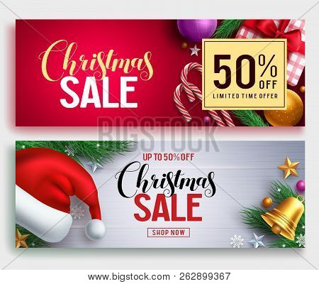 Christmas Sale Vector Banner Set With Sale Discount Text And Colorful Christmas Elements In Red And