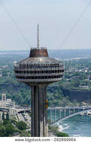NIAGARA FALLS - MAY 27: Skylon Tower in Niagara Falls view from Canadian side in Niagara Falls on May 27, 2016 in Niagara Falls, Canada.