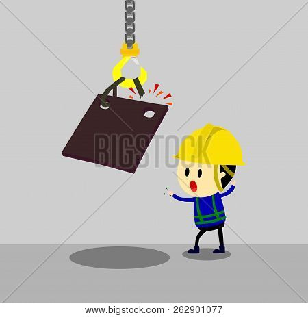 Accident From Lifting Chain Holding Heavy Metal Sheet,unsafe Situation,safety Engineering Cartoon St