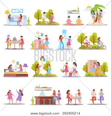 Girls Friendship Orthogonal Icons Set With Home Slumber And Birthday Parties Vacation Sporting Toget