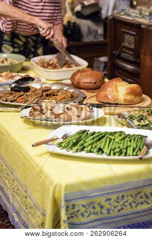 Thanksgiving Table With Food On It