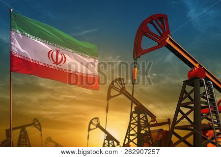 Iran Oil Industry Concept, Industrial Illustration. Fluttering Iran Flag And Oil Wells On The Blue A