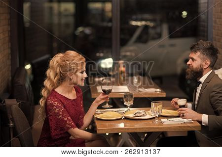 Date Of Family Couple In Romantic Relations, Love. Valentines Day With Sexy Woman And Bearded Man. C