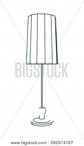 Floor Lamp Silhouette. Vintage Torchere. Home Interior And Creativity. Thin Line Style, Flat Design