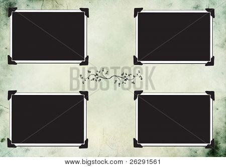 vintage blank photo frames on background