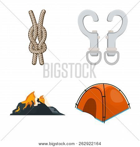 Isolated Object Of Mountaineering And Peak Sign. Set Of Mountaineering And Camp Stock Symbol For Web