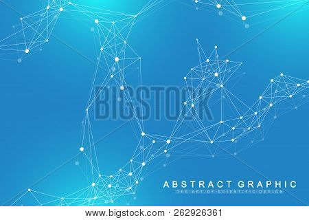 Technology Abstract Background With Connected Line And Dots. Big Data Visualization. Perspective Bac