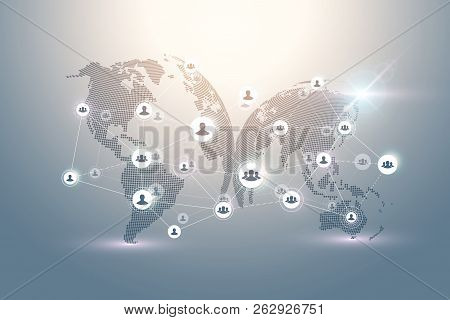 Abstract People Connection Technology Concept With Dotted World Globe. Global Business Concept And I