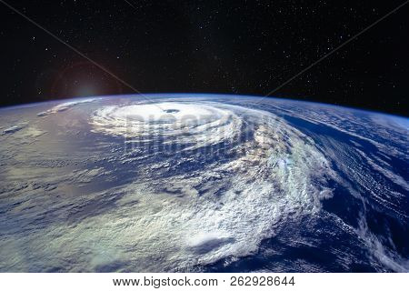 Hurricane Florence Over The Atlantics Close To The Us Coast, Viewed From The Space Station. Gaping E