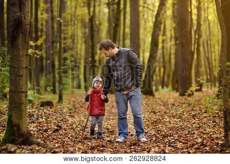 Father And His Toddler Son Walking During The Hiking Activities In Autumn Forest. Active Family Time