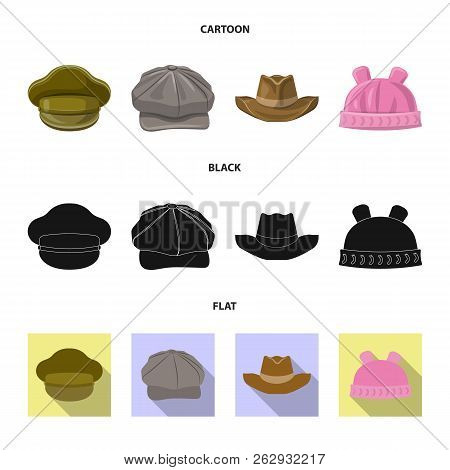 Isolated Object Of Headgear And Cap Sign. Collection Of Headgear And Accessory Stock Vector Illustra