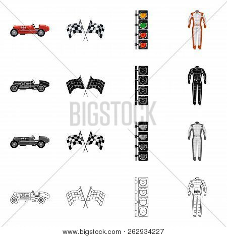 Vector Design Of Car And Rally Icon. Collection Of Car And Race Stock Symbol For Web.