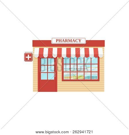 Pharmacy Store Front. Vector. Drugstore, Storefront Shop. Facade Retail Building With Window. Vintag