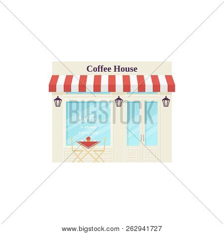 Cafe Shop, Storefront. Vector. Coffee House, Vintage Store Front. Facade Retail Building With Window