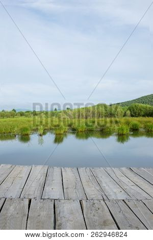 Wood Floor Perspective On The Lake And Forest