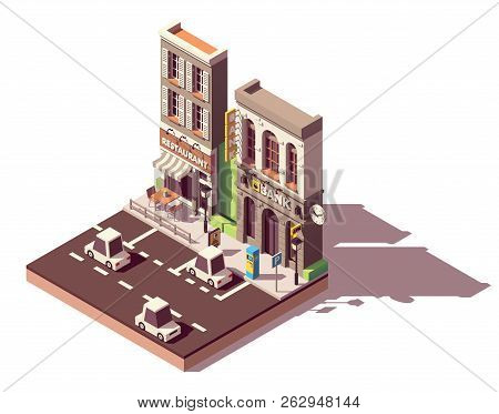 Vector Isometric City Street Car Parking With Pay And Display Ticket Machine And With Marked Car Par