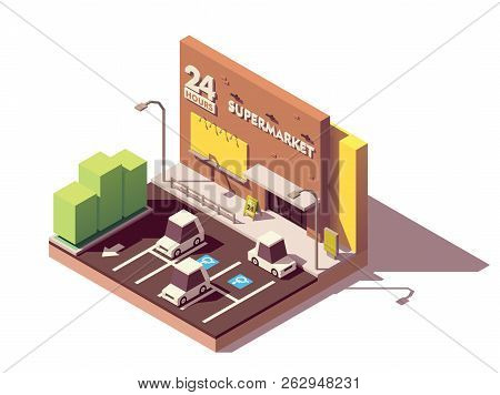 Vector Isometric Supermarket Car Parking Lot With Marked Disables Car Parking Spaces