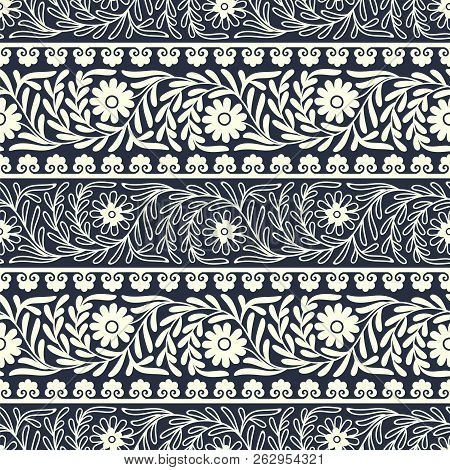 Seamless Vector Floral Eastern Border Pattern. Design For Covers, Packaging, Woodblock, Interior