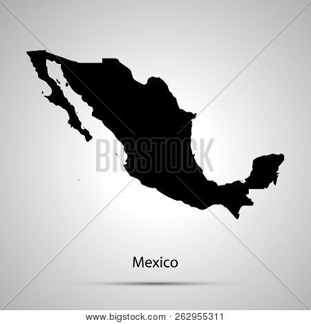 Mexico Country Map, Simple Black Silhouette On Gray